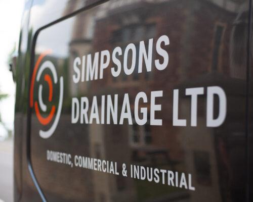 Company van. Simpsons Drainage, Drain clearance, drain unblocking, septic tank services, septic tank emptying, drain camera surveys, drain repairs, drain lining, new drains in Warminster, Frome, Trowbridge.